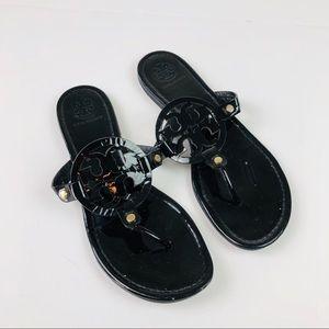 Tory Burch Miller Patent Black Sandals